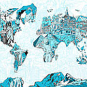 World Map Blue Collage Poster