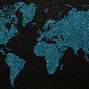 World Map Blue Vintage Fabric On Dark Leather Poster