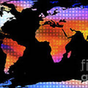 World Map Colourful Dots  Poster