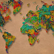 World Map Digital Watercolor Painting  Poster