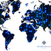World Map In Blue Lights Poster