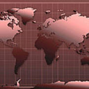 World Map In Dark Red Poster