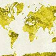 World Map In Watercolor Yellow Poster