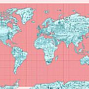 World Map Landmark Collage Poster
