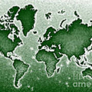 World Map Novo In Green Poster