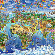 World Map Of World Wonders Poster