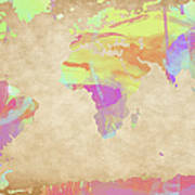 World Map Pastel Watercolors Poster