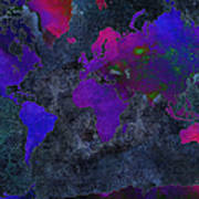 World Map - Purple Flip The Dark Night - Abstract - Digital Painting 2 Poster by Andee Design