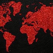 World Map Red Fabric On Dark Leather Poster