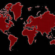 World Map Red Grid Poster