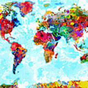 World Map Spattered Paint Poster