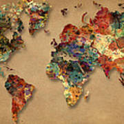 World Map Watercolor Painting 1 Poster