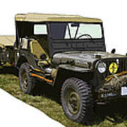 World War Two Army Jeep With Trailer  Poster
