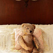 Worn Teddy Bear On Bed Poster