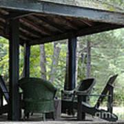 Worn Wicker Chairs On Old Veranda Poster