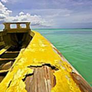 Worn Yellow Fishing Boat Of Aruba Poster