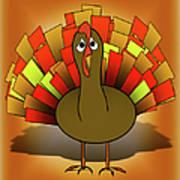 Worried Turkey Illustration Poster