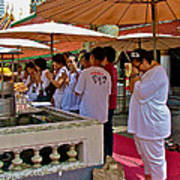 Worshippers In Front Of The Royal Temple  At Grand Palace Of Tha Poster