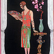 Worth Evening Dress Fashion Plate From Gazette Du Bon Ton Poster