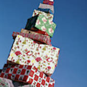Wrapped Christmas Present Stacked Poster