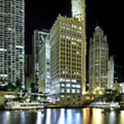 Wrigley Building At Night  Poster