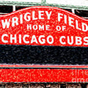 Wrigley Field Chicago Cubs Sign Digital Painting Poster by Paul Velgos