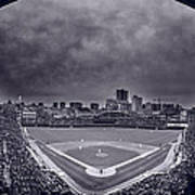 Wrigley Field Night Game Chicago Bw Poster
