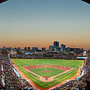 Wrigley Field Night Game Chicago Poster