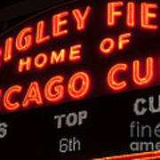 Wrigley Field Sign At Night Poster by Paul Velgos