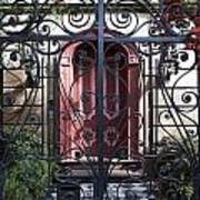 Wrought Iron Gate And Red Door Charleston South Carolina Poster