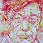 Wystan Auden  Watercolor Portrait Poster