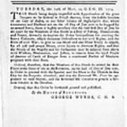 Wythe: Broadside, 1774 Poster
