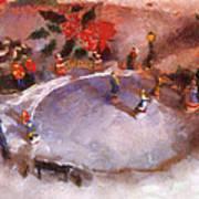 Xmas Skating Rink Photo Art Poster