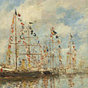 Yacht Basin At Trouville Deauville Poster