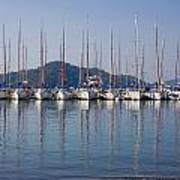 Yachts Docked In The Harbor Gocek Poster by Christine Giles