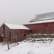 Yankee Farmlands No 19 - Winter Snow And New England Barn Poster