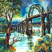 Yaquina Bay Bridge Poster by Ann  Nicholson
