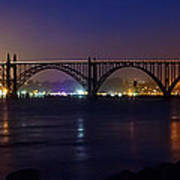 Yaquina Bay Bridge At Night Poster