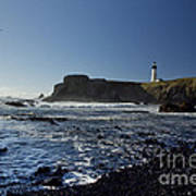 Yaquina Lighthouse And Beach No 1 Poster