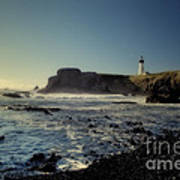 Yaquina Lighthouse And Beach No 2 Poster