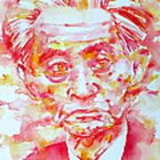 Yasunari Kawabata Watercolor Portrait Poster