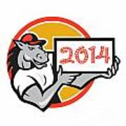Year Of Horse 2014 Showing Sign Cartoon Poster