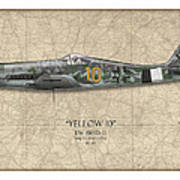 Yellow 10 Focke-wulf Fw190d - Map Background Poster by Craig Tinder