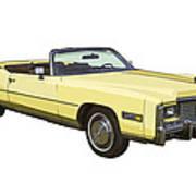 Yellow 1975 Cadillac Eldorado Convertible Poster