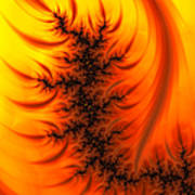 Yellow And Orange Fractal Fire Poster