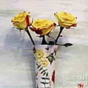 Yellow And Red Tipped Roses Poster by Marsha Heiken