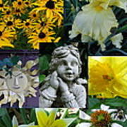 Yellow And White Flower Collage Poster