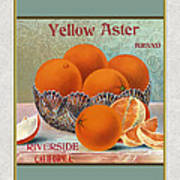 Yellow Aster Brand Oranges Vertical Poster