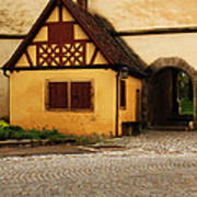 Yellow Building And Wall In Rothenburg Germany Poster