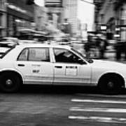 Yellow Cab Blurring Past Crosswalk And Pedestrians New York City Usa Poster